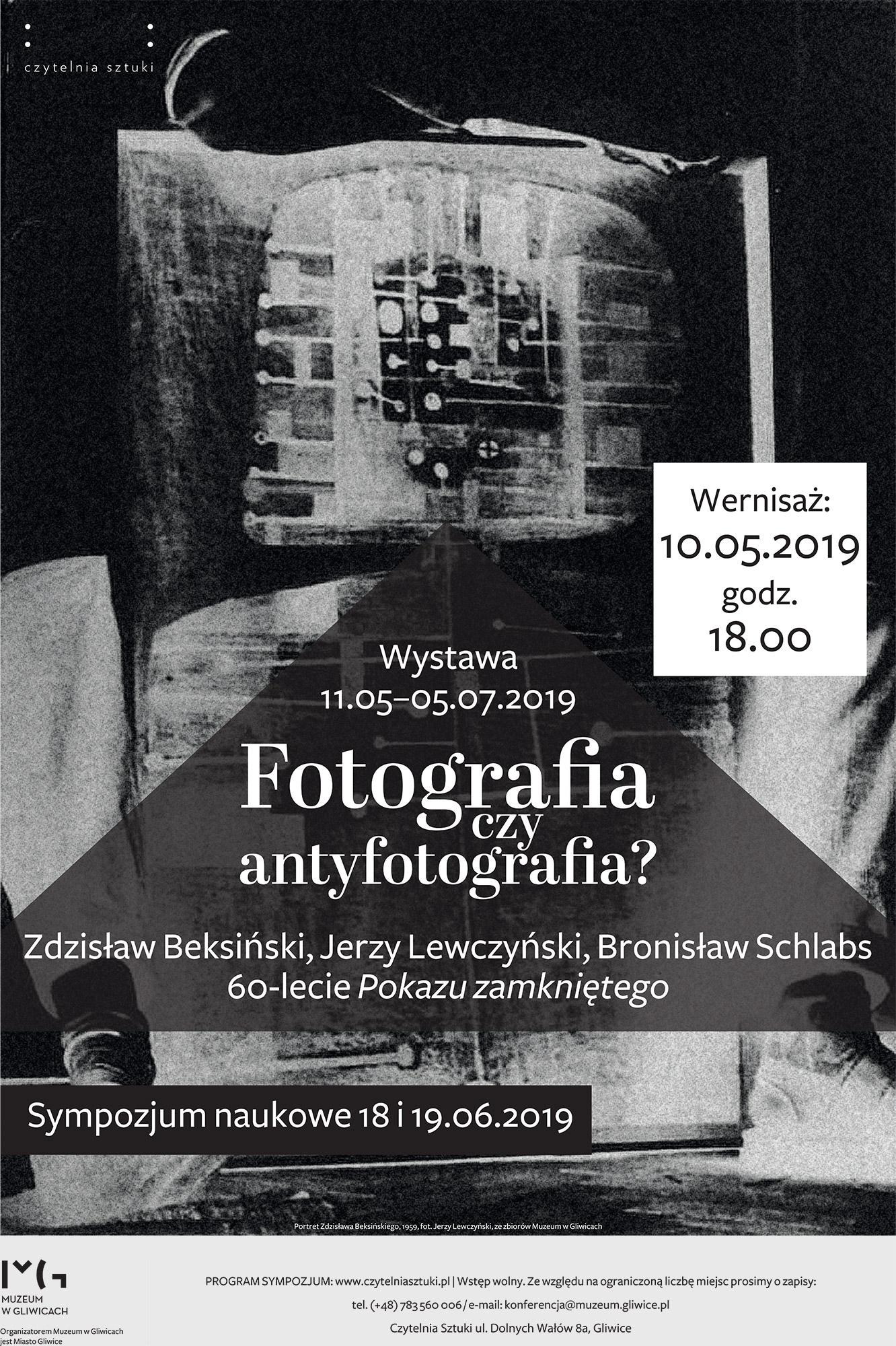 Plakat wystawy Fotografia czy antyfotografia? Zdzisław Beksiński, Jerzy Lewczyński, Bronisław Schlabs – 60-lecie Pokazu zamkniętego (źródło: materiały prasowe)