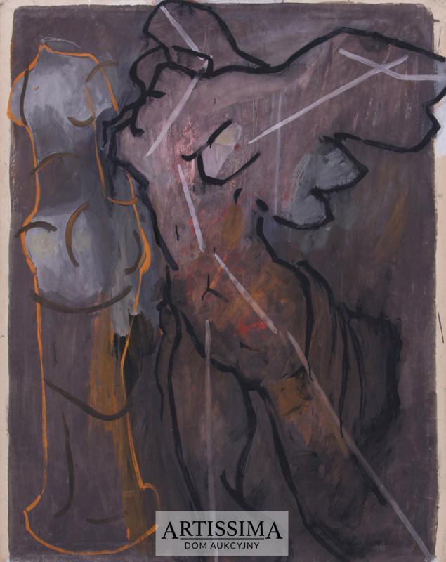 Lech Kunka (1920-1978), Nike, 1953, tempera/papier, 125 x 99 cm (źródło: Dom Aukcyjny Artissima – materiały prasowe)