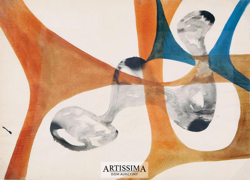 Urszula Broll (ur. 1930), z cyklu Powidoki, 1955, tusz/papier, 42,5 x 60 cm (źródło: Dom Aukcyjny Artissima – materiały prasowe)