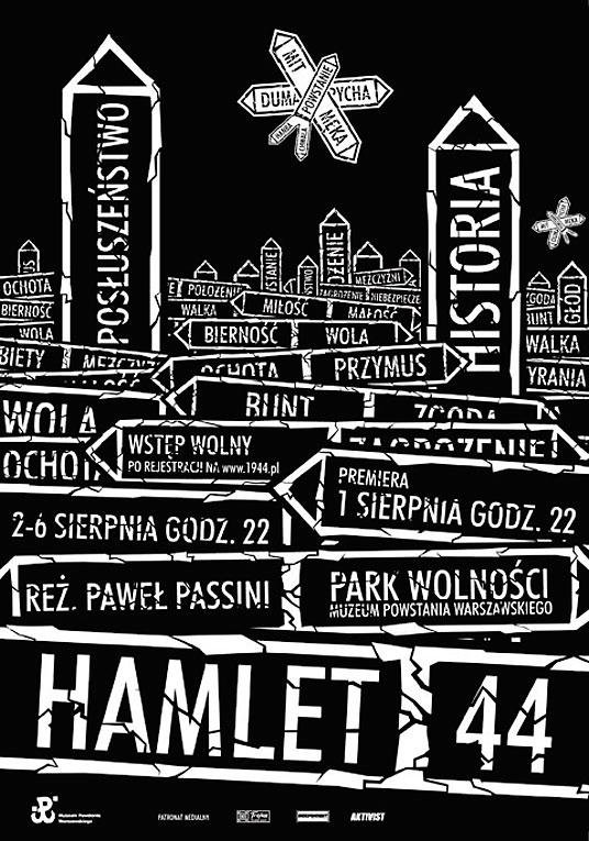 Odczytać Powstanie, plakat do spektaklu Hamlet 44
