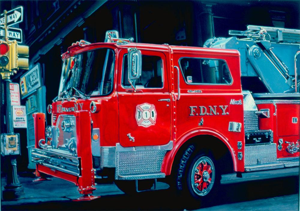 Ron Kleemann (ur. 1937 w Bay City, Michigan). Wóz strażacki marki Mack ze złożoną drabiną, 1975. Akryl, papier, 48,3 x 68,6 cm Kolekcja Elliotta Meisela