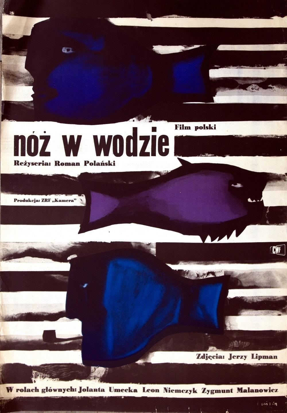 """Projekt plakatu Jana Lenicy do filmu Romana Polańskiego """"Nóż w wodzie"""""""
