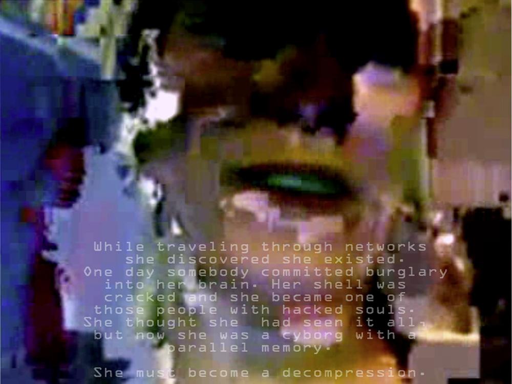 Cyborg. In the midst of the serene world of ╔ą╔ö╩ç─▒lĂâ. December 2007 video frame