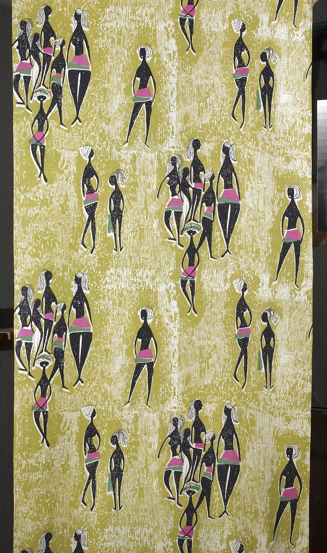 Danuta Paprowicz-Michno, Instytut Wzornictwa Przemysłowego, tkanina dekoracyjna drukowana Łaźnia, 1958, Wzr.t.771 MNW