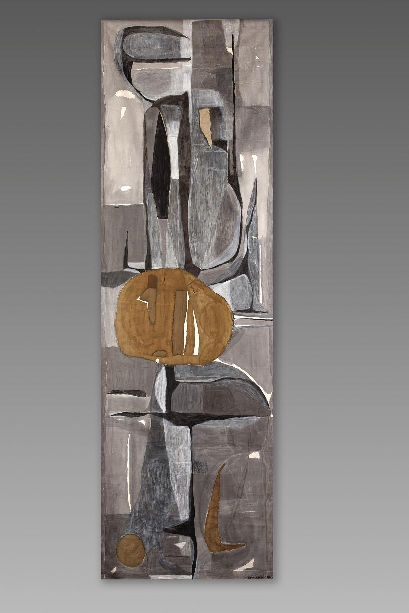 Magdalena Abakanowicz, makata malowana Kompozycja z rudą głową, przed 1960, SZW 628 MNW