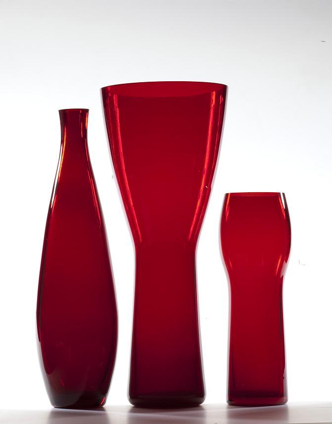 Zbigniew Horbowy, wazony-butle z barwnego szkła, 1960-61, Wzr.c.255, 258, 256 MNW