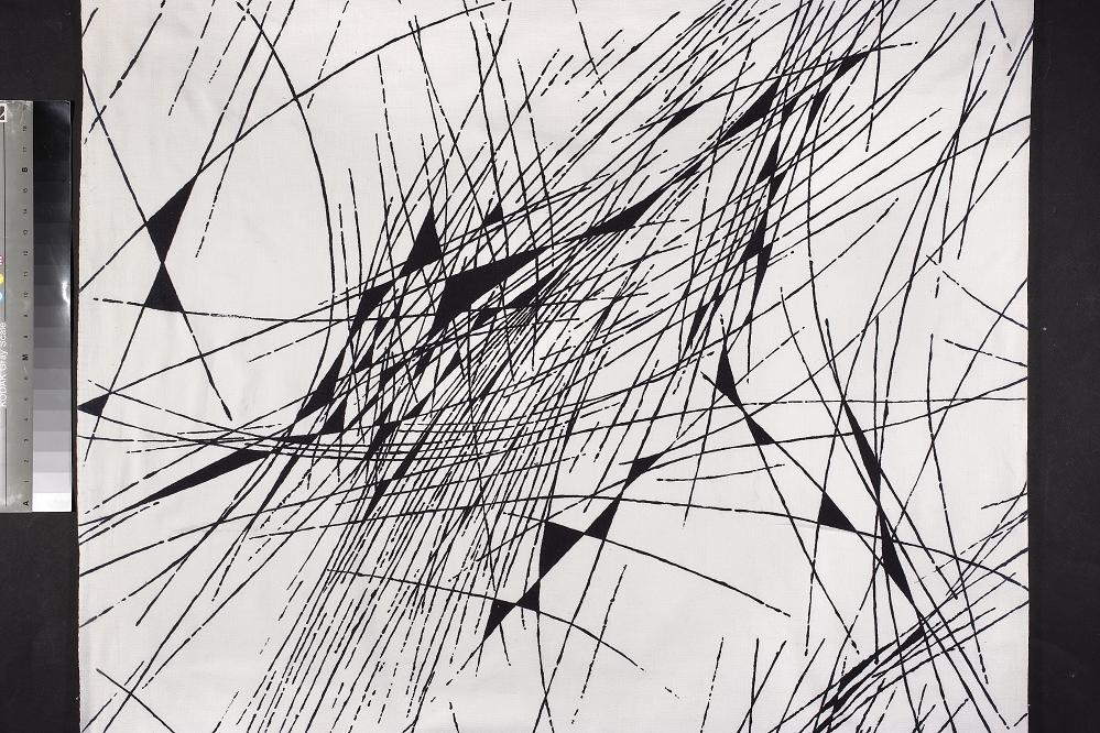 Włodzimierz Garlicki, tkanina dekoracyjna drukowana, Instytut Wzornictwa Przemysłowego, ok. 1956, Wzr.t.1019 MNW