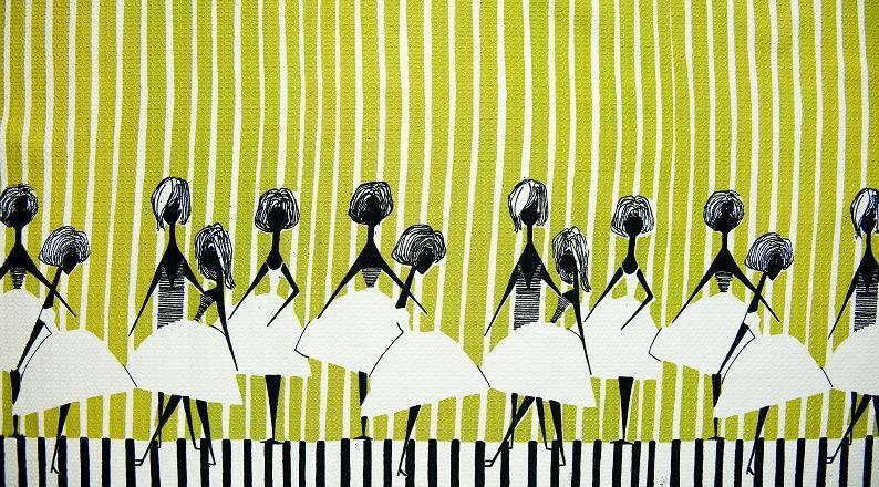 Alicja Wyszogrodzka, Instytut Wzornictwa Przemysłowego, tkanina dekoracyjna lub kupon na spódnicę Panny, 1958, Wzr.t.850 MNW [fot. Michał Korta]