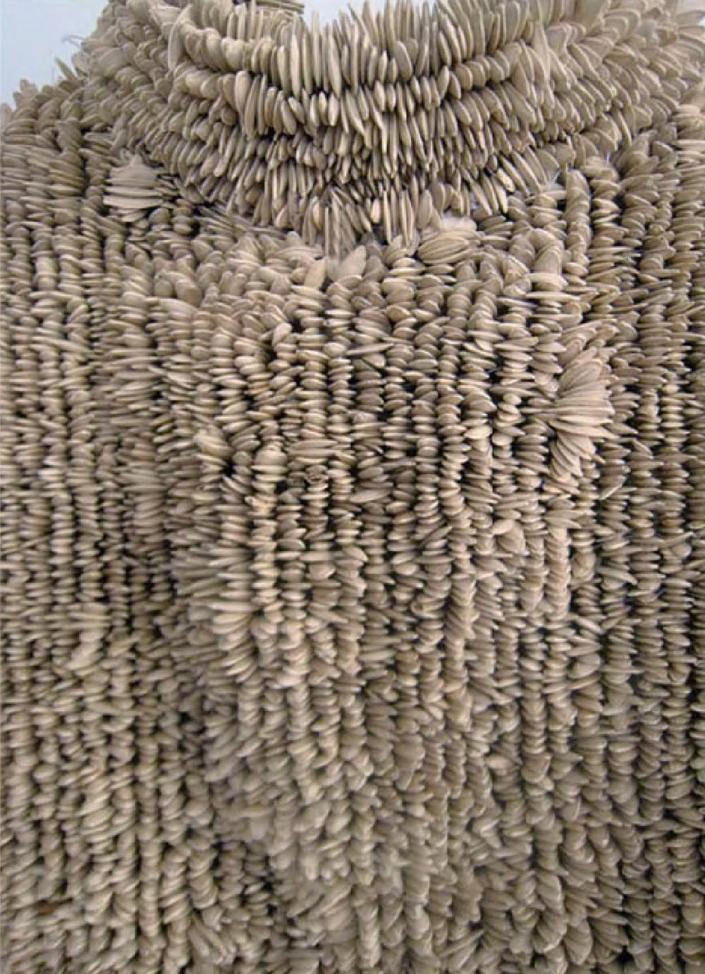 Xawery Wolski, Sukienka, 2009, nasiona dyni, tkanina nylonowa, 166x53x14 cm, detal, materiały udostępnione przez Galerię Bielską