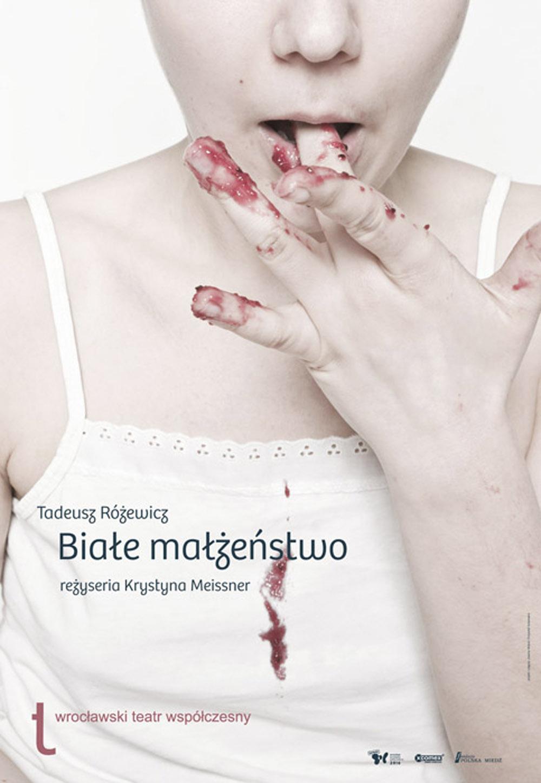"""Plakat do spektaklu """"Białe Małżeństwo"""", reżyseria Krystyna Meissner"""