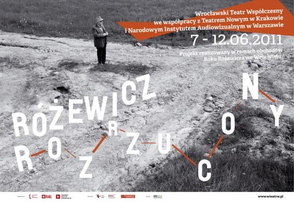 """Plakat projektu """"Różewicz rozrzucony"""", Wrocławski Teatr Współczesny"""