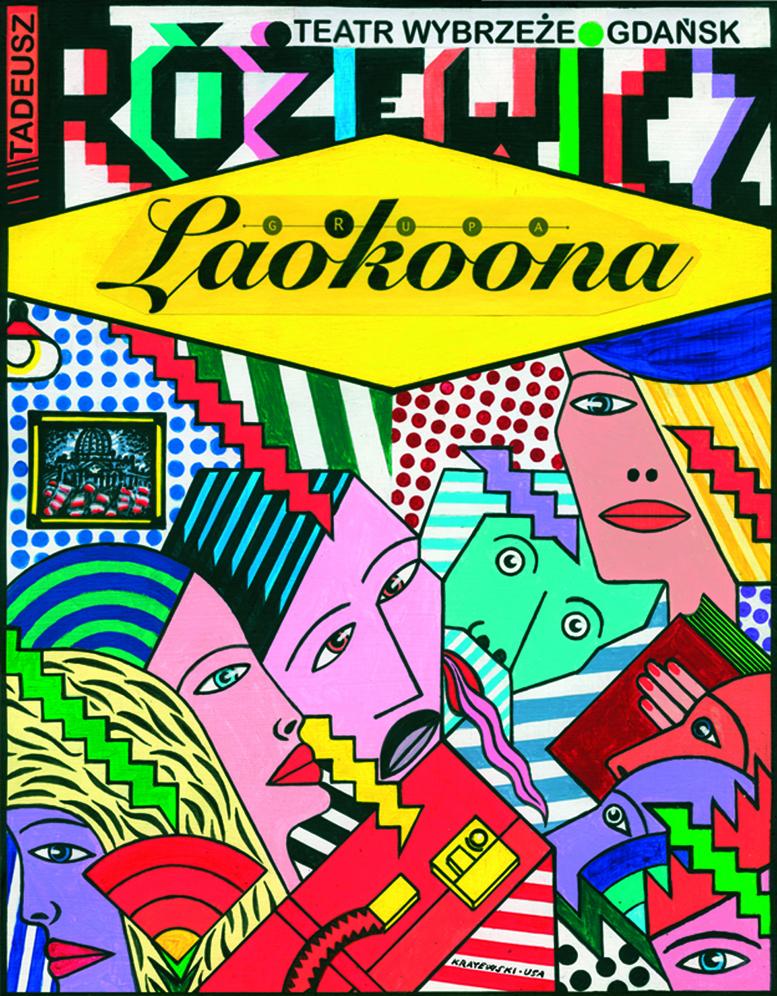 """Plakat do spektaklu """"Grupa Laokoona"""", reż. Jarosław Tumidajski (Teatr Wybrzeże, Gdańsk)"""