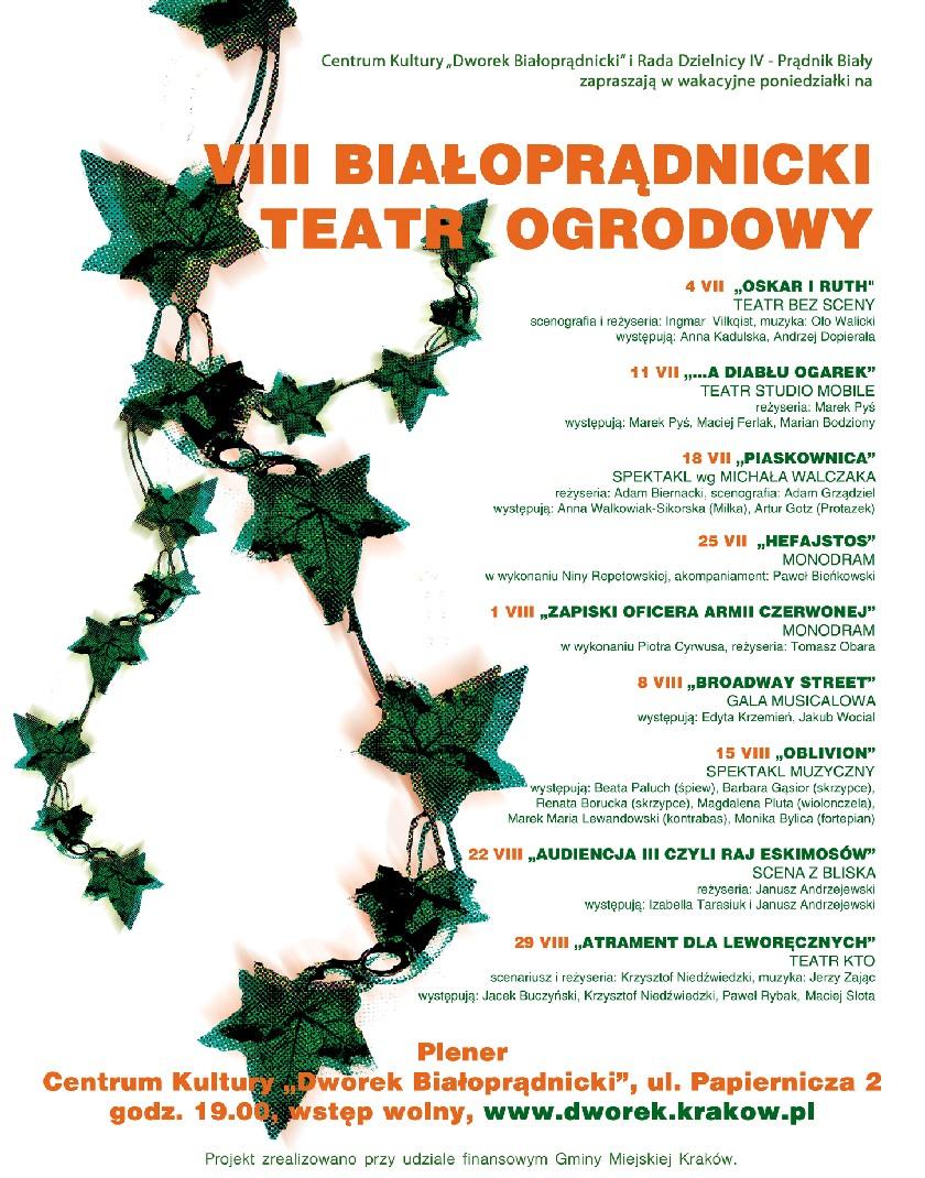 Białoprądnicki Teatr Ogrodowy - plakat, materiał udostępniony przez organizatora