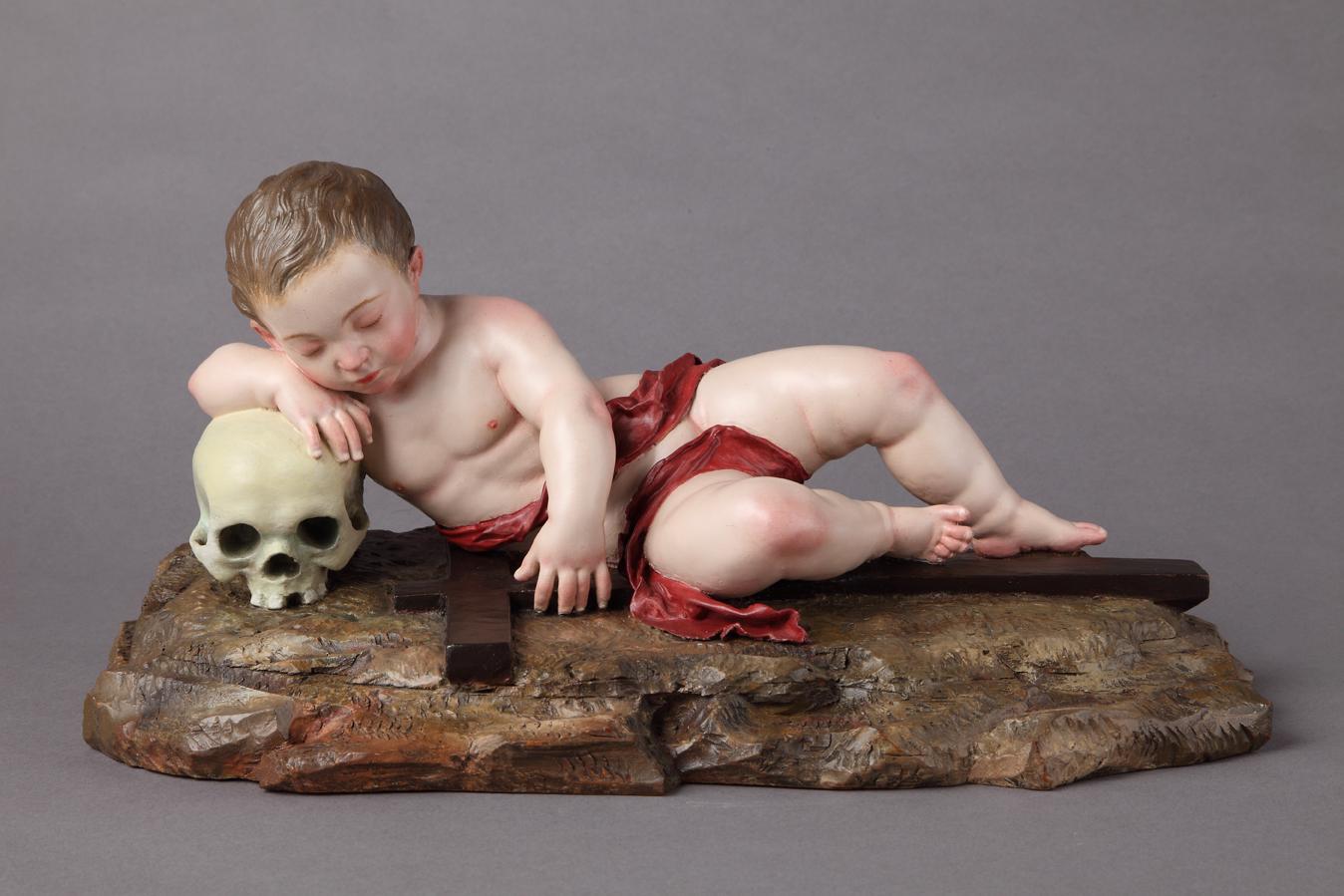 Śpiące Dzieciątko Jezus z narzędziami Męki Pańskiej. Hiszpania, druga połowa XVIII wieku,