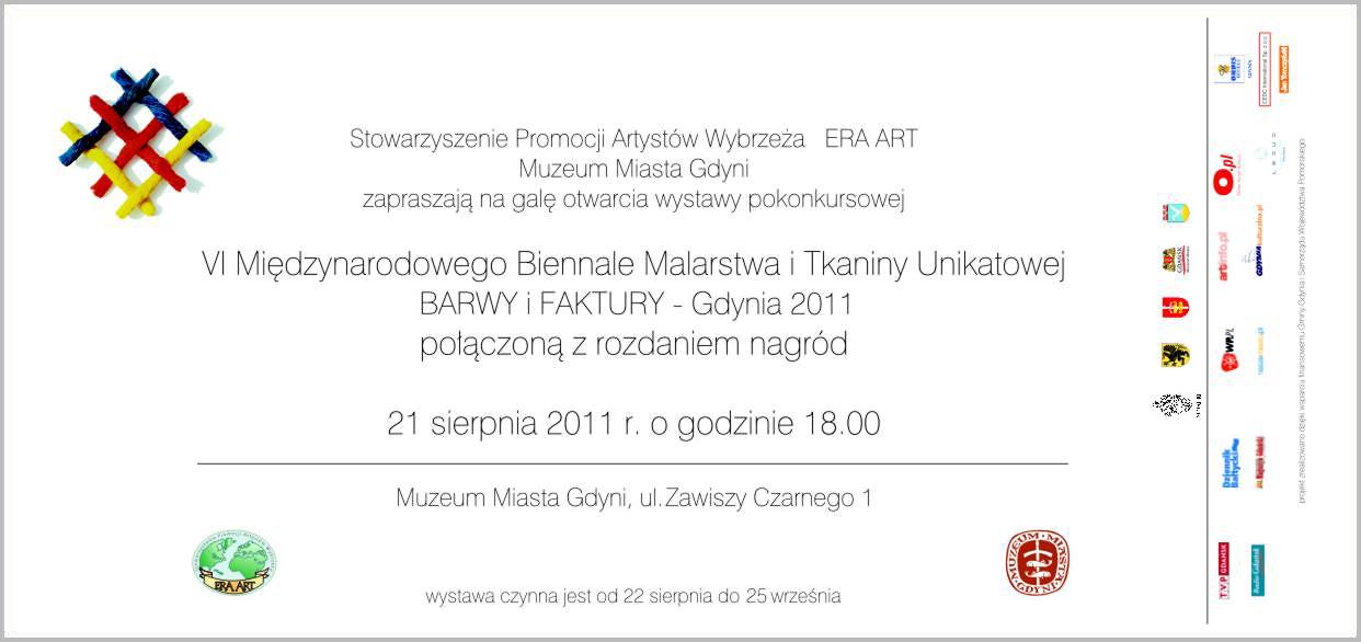 Zaproszenie na VI Międzynarodowe Biennale Malarstwa i Tkaniny Unikatowej – Barwy i Faktury