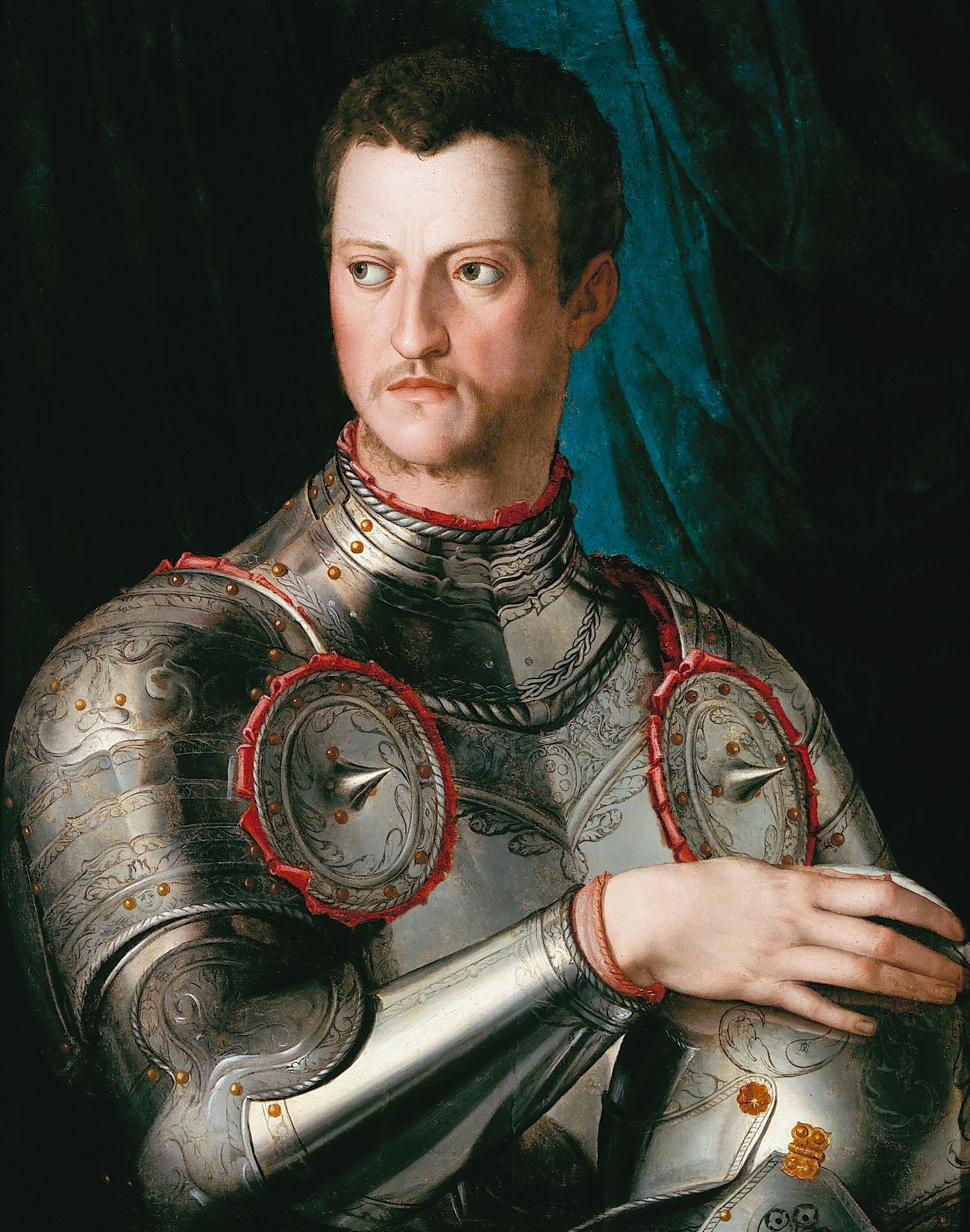 """Kategoria dotyk: Angelo Bronzino obraz """"Portret Cosima I dei Medici"""" 1545 Obraz przedstawia postać młodego mężczyzny w zbroi. Dominują jasne barwy na pierwszym planie: szarość, biel, błękit. Na drugim planie ciemne, intensywne barwy: czerń, zieleń, turkus."""