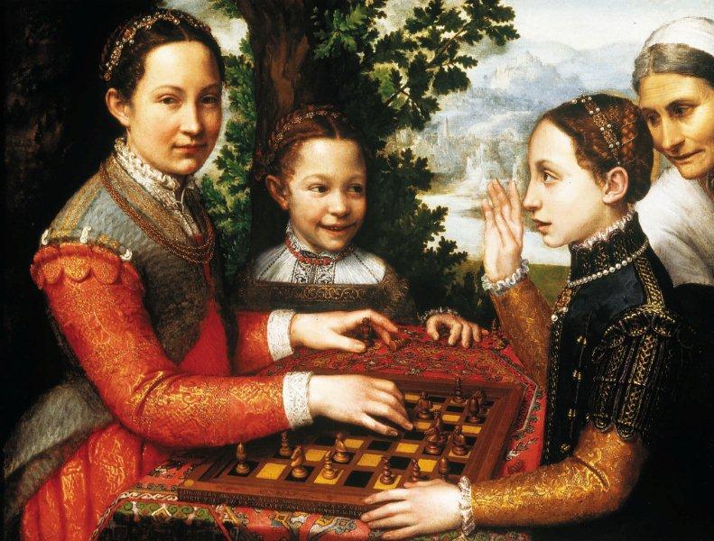 """Kategoria dotyk: Sofonisba Anquisciola obraz """"Partia szachów"""" 1555 Obraz przedstawia scenę w plenerze: cztery osoby przy stoliku szachowym. Kolorystyka ciemna; dominują brązy, zielenie, pomarańcze."""