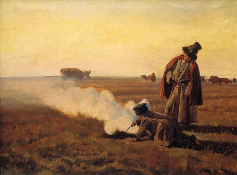 """Kategoria zapach: Józef Chełmoński obraz """"Jesień"""" 1897 Obraz przedstawia dwóch pastuszków na polu o zmierzchu. Dolna połowa obrazu zdominowana jest przez ciemne brązy i zielenie. Górna operuje jasnymi, pastelowymi barwami szarości, różu i żółcieni"""