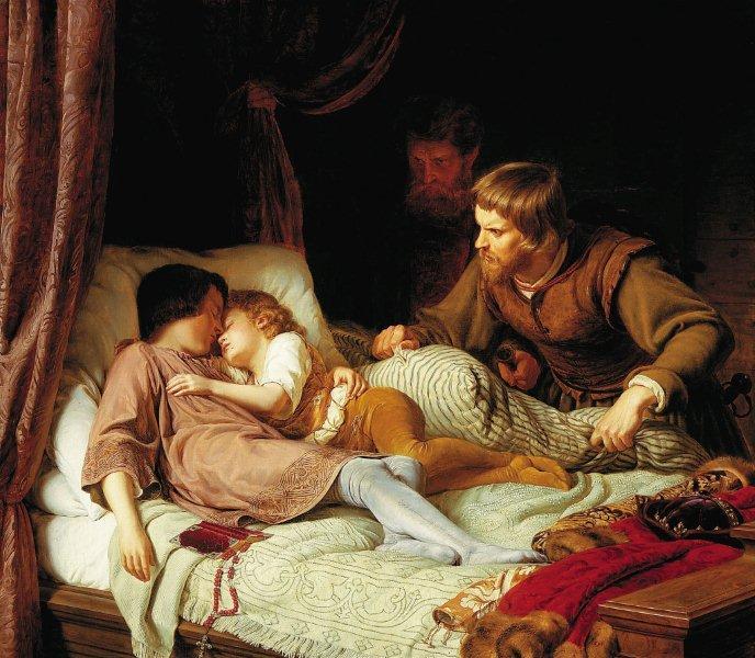 """Kategoria wzrok: Ferdinand Theodor Hildebrandt obraz """"Zabójstwo synów Edwarda IV"""" 1835 Obraz przedstawia dwóch śpiących chłopców oraz dwóch mężczyzn w komnacie. Scena rozgrywa się w nocy Dominują różne odcienie brązu, na ich tle wybijają się jasne plamy: biel, beż i szarość."""