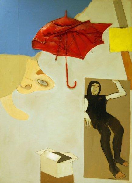"""Kategoria dotyk: Tadeusz Kantor obraz """"Ambalaże, przedmioty, postacie"""" 1968 Ambalaż Tadeusza Kantora łączy cechy malarstwa przedstawiającego i abstrakcyjnego. Prezentuje kobiecą postać, fragment twarzy, kilka przedmiotów oraz geometryczne formy abstrakcyjne. Do powierzchni płótna przytwierdzony jest parasol. Dominuje jasnoszare, jednorodne tło, w lewym górnym rogu rozległa ciemnoniebieska plama o wyokrąglonym konturze. Pozostałe barwy to: czerwień, błękit, żółcień, czerń."""