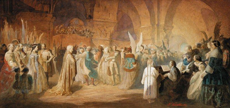 """Kategoria słuch: Teofil Kwiatkowski obraz """"Polonez Chopina"""" 1859 Obraz przedstawia postaci w trzech grupach między kolumnami w ogromnej sali. Dominują delikatne barwy brązowe z akcentami czerwieni, błękitu i zieleni."""