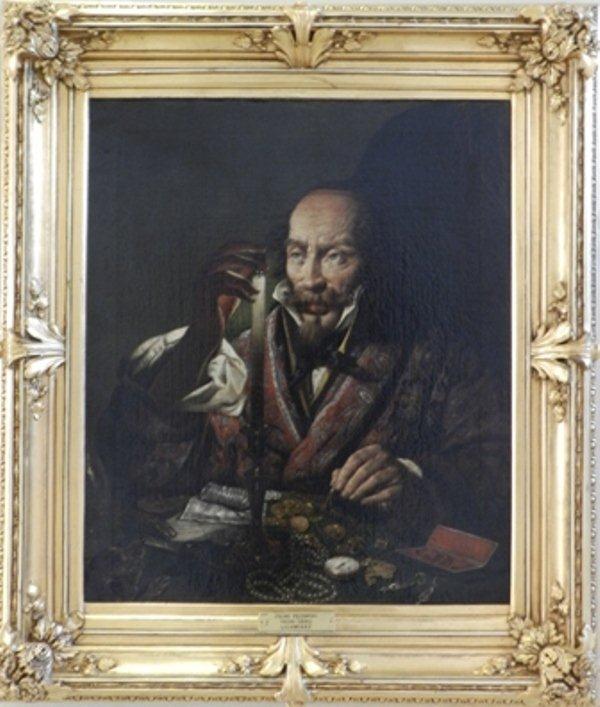 """Kategoria wzrok: Feliks Pęczarski obraz """"Lichwiarz"""" 1844 Obraz przedstawia starszego mężczyznę za stołem pełnym kosztowności, we wnętrzu pogrążonym w mroku. Dominująca barwą jest czerń tła. Z niej wybijają się beż, biel, brąz i czerwień."""