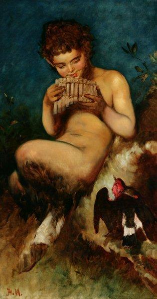 """Kategoria słuch: Hans Makart obraz """"Faun grający na syrindze"""" ok. 1870 Obraz przedstawia fauna grającego na syrindze oraz głuszca. Scena rozgrywa się w lesie. Dominują barwy jasne na pierwszym planie: beże, róż, brąz, biel. Ciemnozielone tło."""