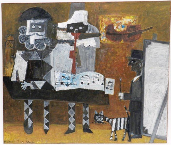 """Kategoria słuch: Jerzy Piotrowicz obraz """"Muzykanci w pracowni Picassa"""" 1994 Obraz przedstawia dwóch muzykantów w pracowni Pabla Picassa. Dominujące barwy to biel i czerń. Tło brązowe. Obraz łączy w sobie cechy malarstwa figuratywnego - ponieważ przedstawia fragment rzeczywistości - oraz abstrakcyjnego - ze względu na uproszczony, zgeometryzowany sposób prezentacji."""