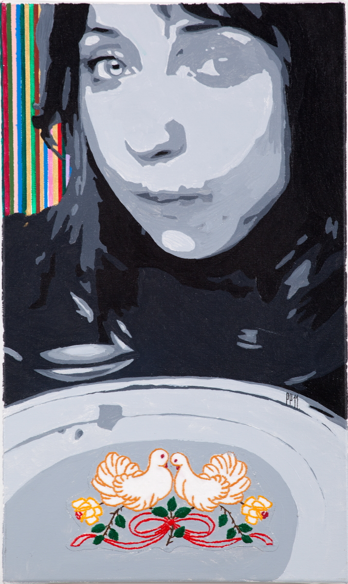 Paulina Poczęta, Na obiad dziś gołąbki, 2011, akryl, technika mieszana, płótno, 50 x 30 cm, fot. Jacek Rojkowski