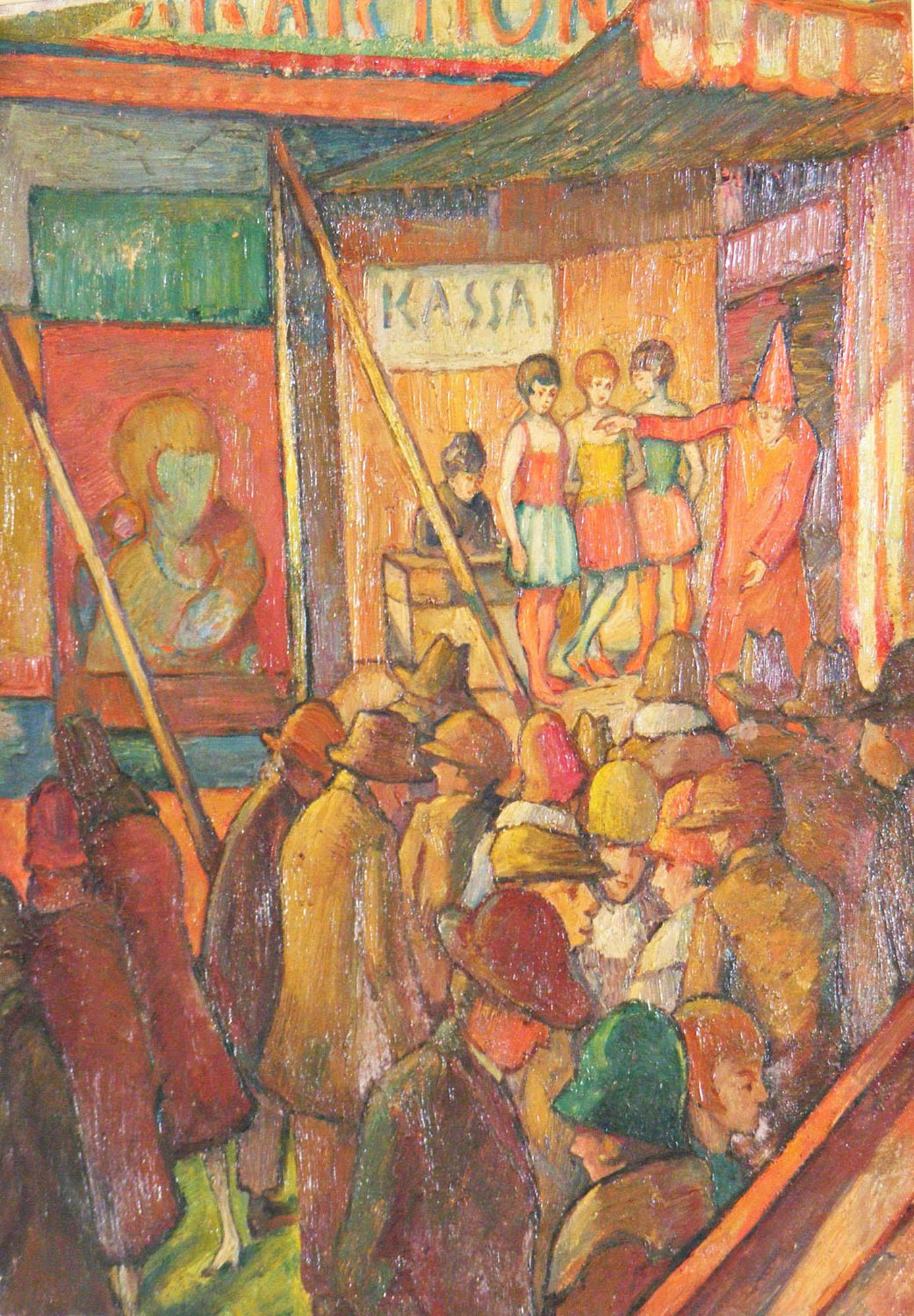 Julius Grauman, Jarmarczna buda (Światowe atrakcje), olej na płótnie, 1928 (zdjęcie pochodzi z materiałów prasowych)