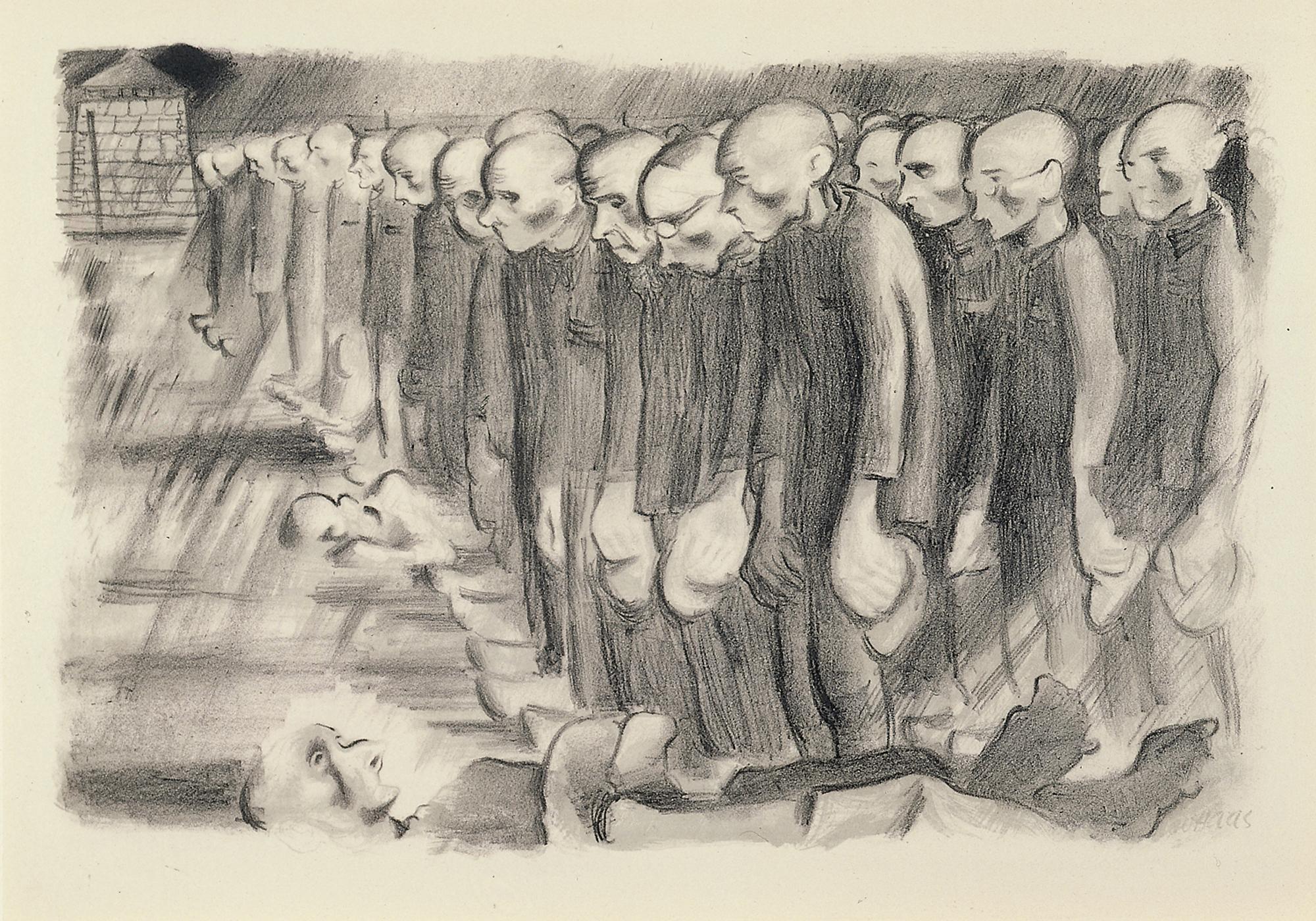 Leo Haas, litografia z serii Aus deutschen Konzentrationslagern, opublikowane w 1947 według rysunków z 1944, litografia z drukiem tonalnym (zdjęcie pochodzi z materiałów prasowych)