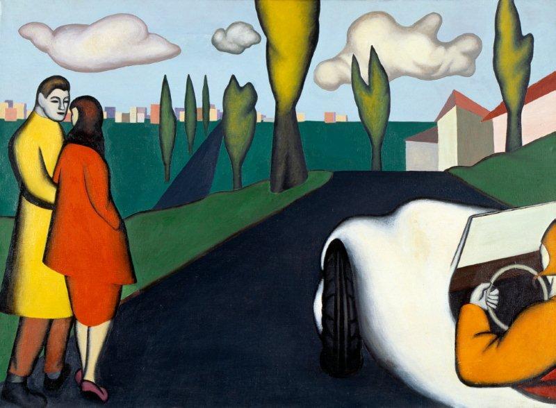 """Kategoria zapach: Kajetan Sosnowski obraz """"Spacer na Bielany"""" 1956 Obraz przedstawia drogę wiodącą ku blokom na horyzoncie. Na niej mężczyzna, kobieta oraz samochód. Na obrazie dominuje czerń i zieleń. Na ich tle wybijają się barwy: żółta, czerwona, biała i pomarańczowa."""