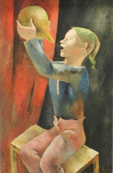 """Kategoria smak: Eugeniusz Żak obraz """"Pijący chłopiec"""" ok. 1925 Obraz przedstawia nastoletniego pijącego chłopca, siedzącego na stołku. Na pierwszym planie dominują intensywne, jasne kolory: zieleń, błękit, róż, jasny brąz. Barwy tła to czerwień i czerń."""