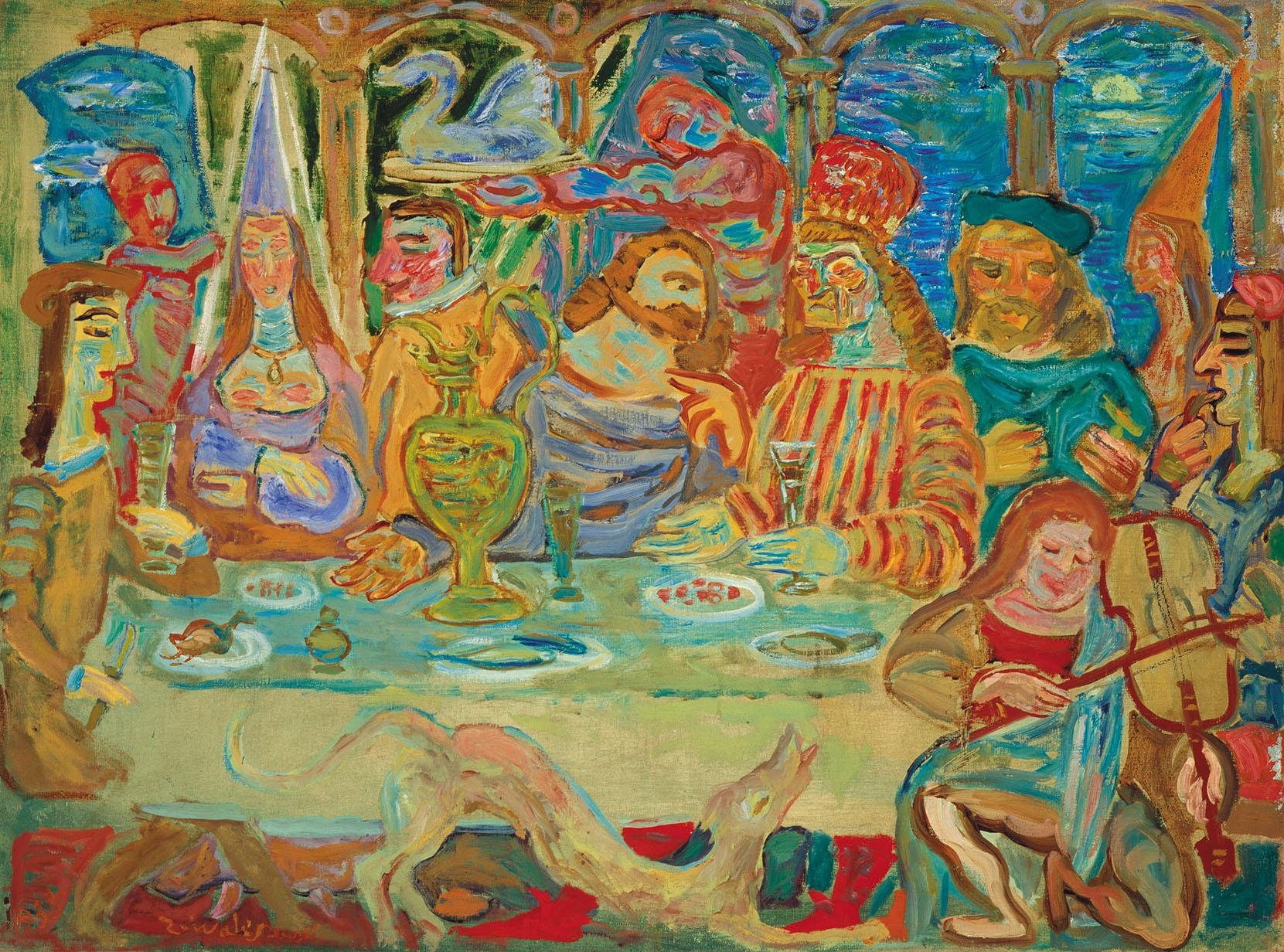 """Kategoria smak:Zygmunt Waliszewski obraz """"Uczta u Benvenutta Celliniego tzw. renesansowa"""" 1933 Obraz przedstawia ucztę w renesansowej komnacie. Charakteryzuje się szeroką paletą barw. Kolory są jasne, jaskrawe. Obraz przywodzi na myśl twórczość dziecięcą - rysunek jest uproszczony, farba nakładana licznymi, drobnymi pociągnięciami pędzla."""