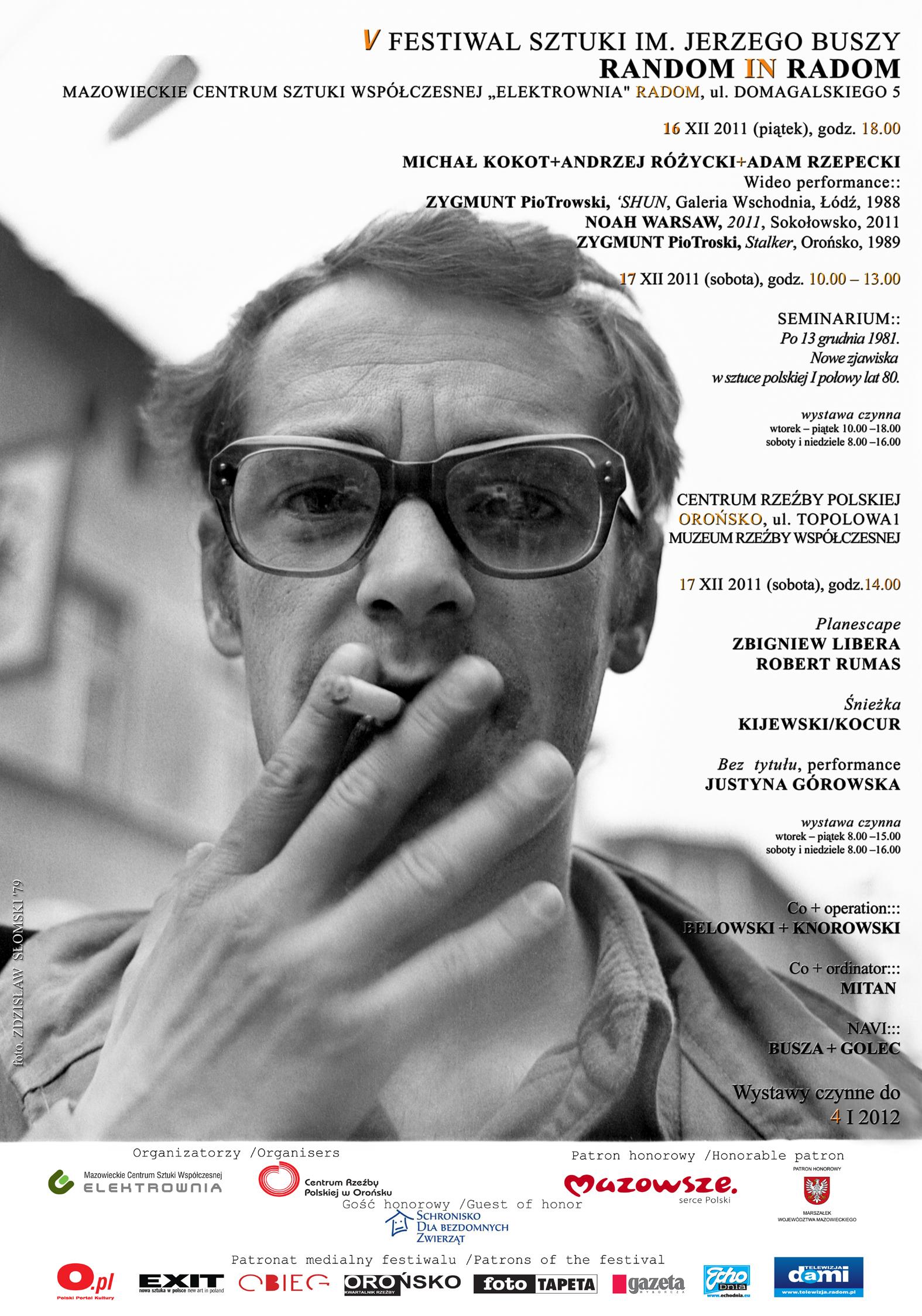 V Festiwal Sztuki im. Jerzego Buszy Random in Radom- plakat (źródło: materiały prasowe Mazowieckiego Centrum Sztuki Współczesnej)