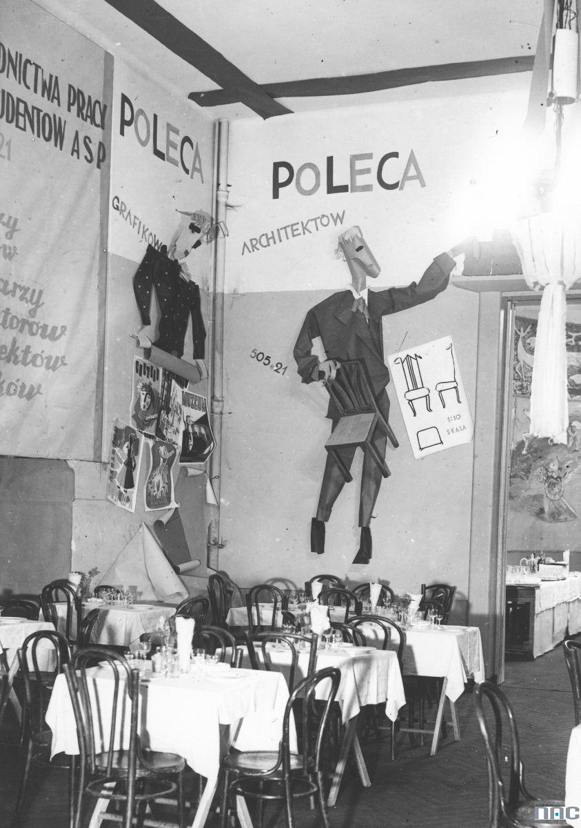 Bal w Akademii Sztuk Pięknych w Warszawie. Fragment dekoracji sali bufetowej, 18 luty 1939, Wybrzeże Kościuszkowie. Fot. NAC (źródło: materiały prasowe)