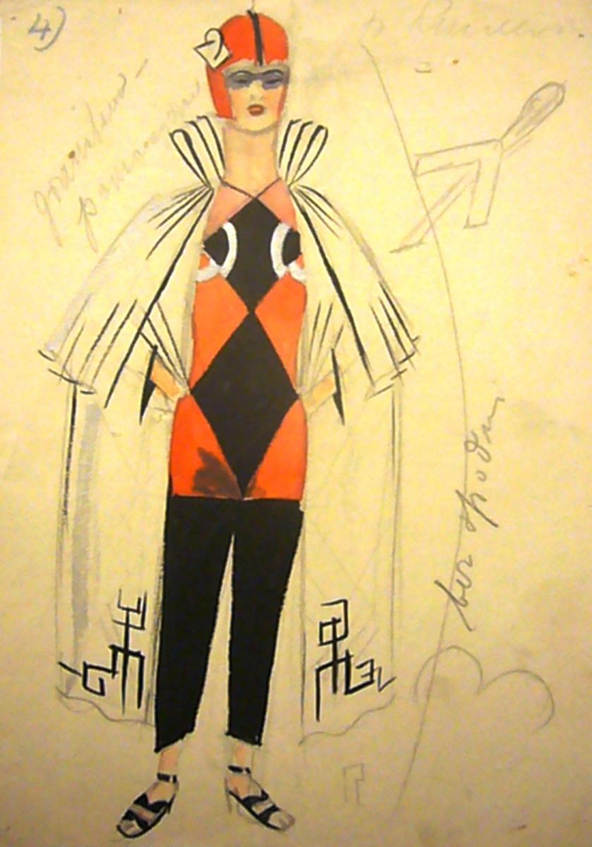 """Władysław Daszewski, Projekt kostiumu do """"Wojny w wojnie"""" Adolfa Nowaczyńskiego, 1927, Muzeum Teatralne. Fot. W. Holnicki-Szulc (źródło: materiały prasowe)"""