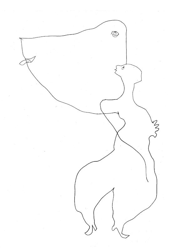 """Franciszka Themerson, """"Atrakcja"""", rysunek, 1961 (źródło: materiały prasowe)"""