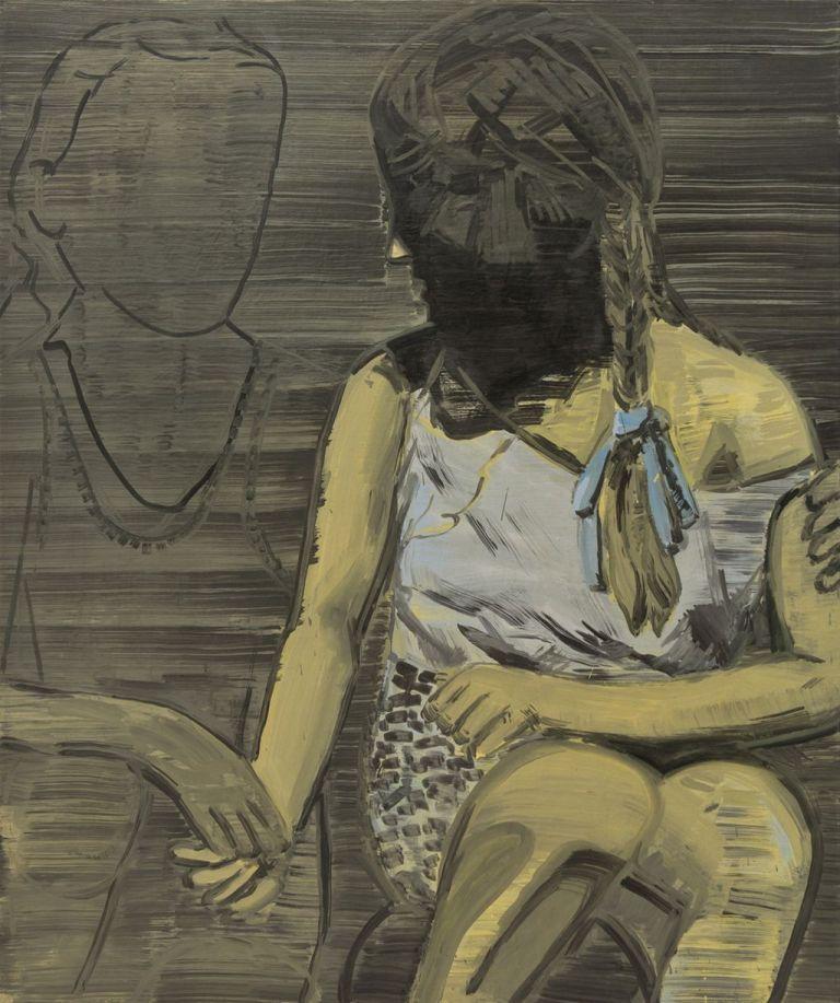 """Adam Adach, """"Nędza pocieszająca biedę"""", 2011, olej, płótno, 155 x 130 cm, (źródło: materiały prasowe Galerii Bielskiej BWA)"""