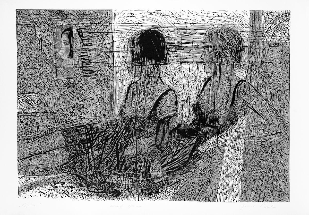 """Joanna Piech, """"Sjesta"""", linoryt, 88 x 120 cm (95 x 130 cm), 2003 (źródło: materiały prasowe organizatora)"""