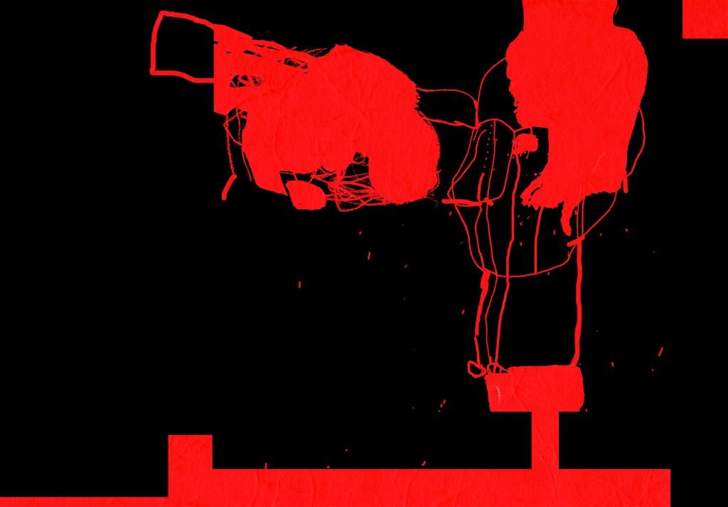 "Modhir Ahmed "" Black on red- Annunaki III"" UV print, 62x89cm (źródło: materiał prasowy organizatora)"