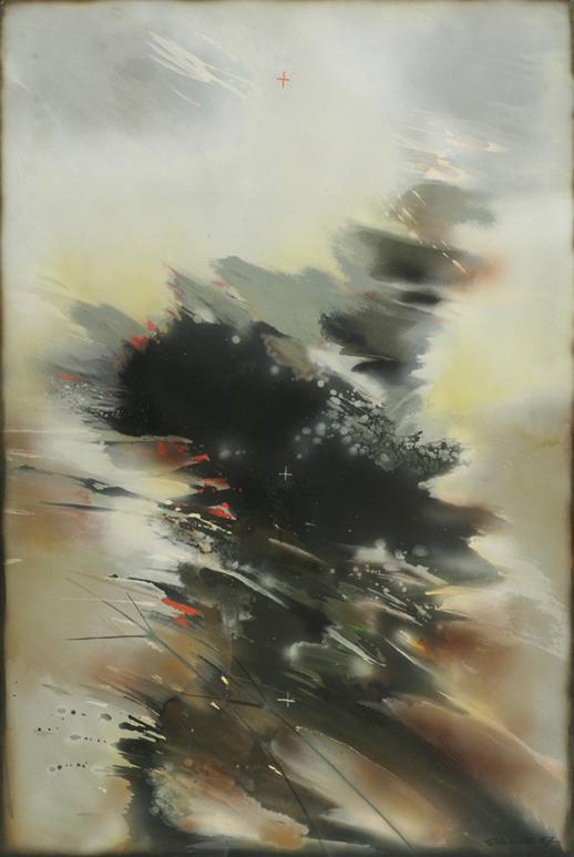"""Witold Skulicz, """"Narastanie"""", technika mieszana, 1987, własność rodziny artysty (źródło: materiały prasowe)"""