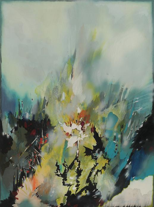 """Witold Skulicz, """"Ogród z białym kwiatem"""", 1989, własność rodziny artysty (źródło: materiały prasowe)"""
