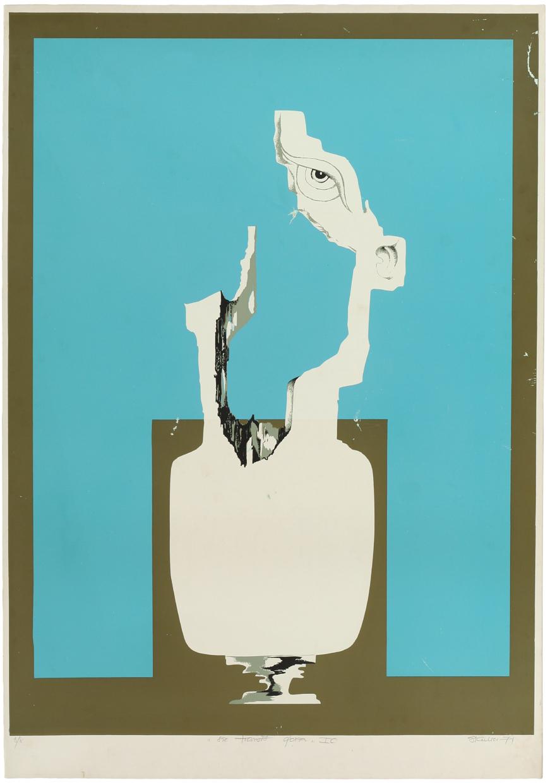 """Witold Skulicz, """"Sic transit gloria IC"""", serigrafia, 1971, własność rodziny artysty (źródło: materiały prasowe)"""
