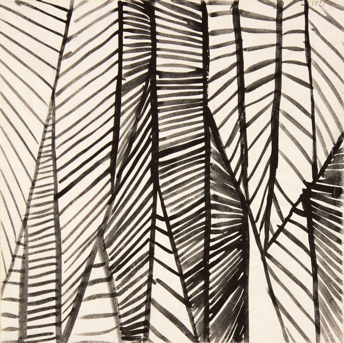 """Andrzej Wróblewski, Bez tytułu, [""""Kompozycja abstrakcyjna nr 102""""], niedatowany, tusz, ołówek, papier, kolekcja prywatna (źródło: materiały prasowe organizatora)"""