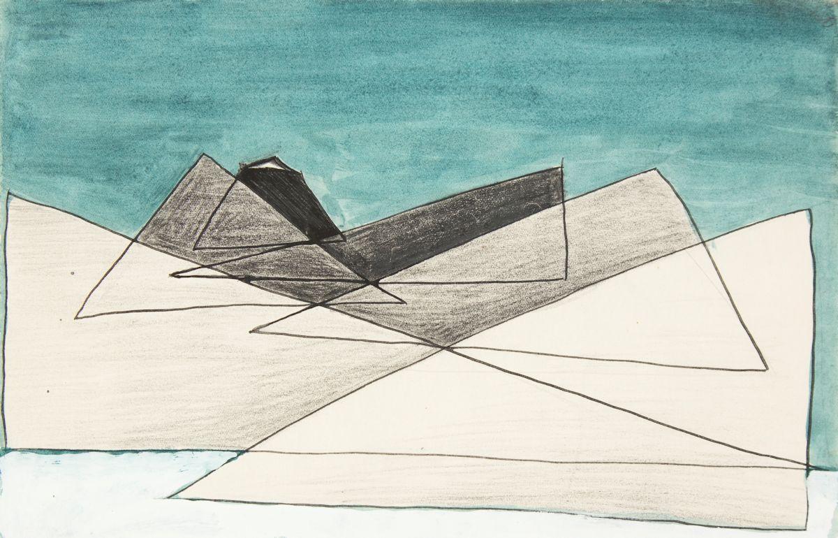 """Andrzej Wróblewski, Bez tytułu (""""Kompozycja abstrakcyjna. Trójkąty, Kompozycja abstrakcyjna nr 150""""), niedatowany, akwarela, tusz, ołówek, gwasz, papier, kolekcja prywatna (źródło: materiały prasowe organizatora)"""
