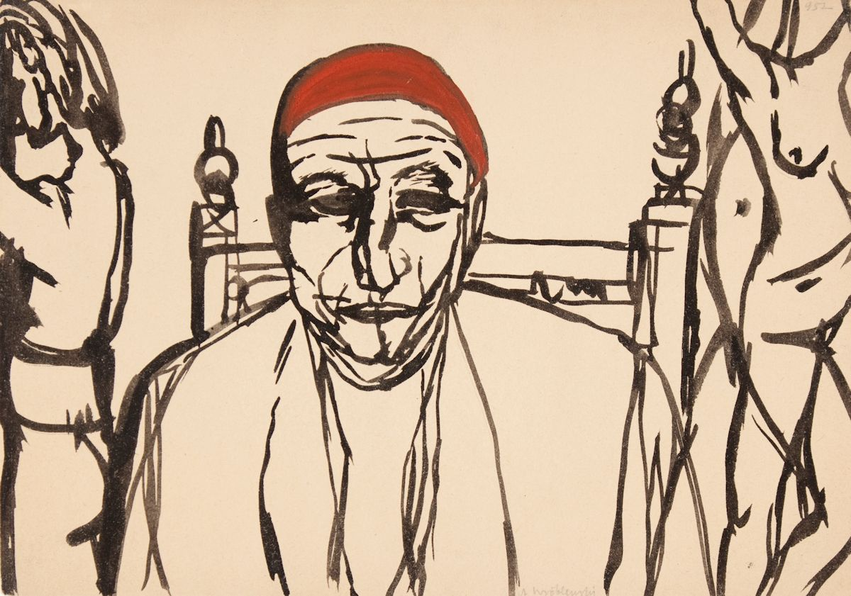 """Andrzej Wróblewski, Bez tytułu, [""""Portret mężczyzny z aktami, Portret mężczyzny""""], niedatowany, tusz, gwasz, papier, kolekcja prywatna (źródło: materiały prasowe organizatora)"""