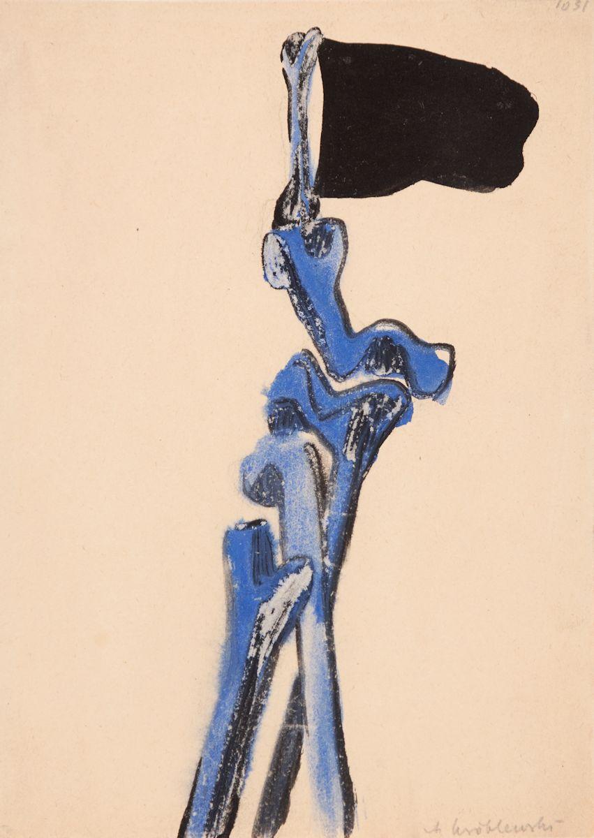 """Andrzej Wróblewski, Bez tytułu (""""Czarna chorągiew"""") [""""Kości i czarna flaga""""], niedatowany, akwarela, gwasz, papier, kolekcja prywatna (źródło: materiały prasowe organizatora)"""