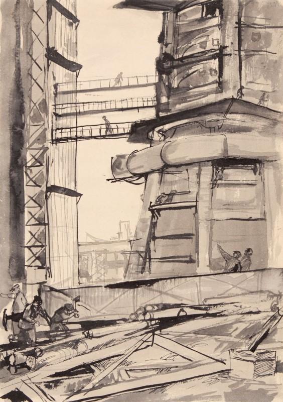 """Andrzej Wróblewski, """"Montaż Wielkiego Pieca"""" (""""Nowa Huta""""), 1953, tusz, papier, kolekcja prywatna (źródło: materiały prasowe organizatora)"""