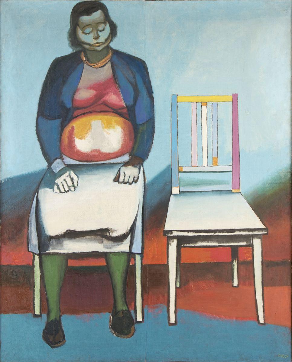 """Andrzej Wróblewski, """"Poczekalnia II"""", (""""Ukrzesłowienie I""""), 1956, olej, płótno, Muzeum Narodowe w Krakowie (źródło: materiały prasowe organizatora)"""
